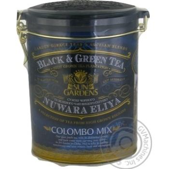 Черно-зеленый чай Сан Гарденс байховый крупнолистовой с семенами кардамона и цветами Коломбо Микс 100г железная банка Украина