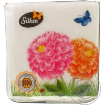 Серветки паперові Silken Light 240*240мм 100шт - купити, ціни на МегаМаркет - фото 1