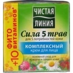 Cream Chistaya liniya 5 herbs power with herbs for face 45ml