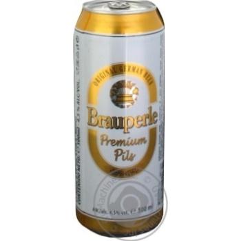 Пиво Брауперле Пилс светлое фильтрованное пастеризованное 4.5%об. железная банка 500мл Германия - купить, цены на Novus - фото 1