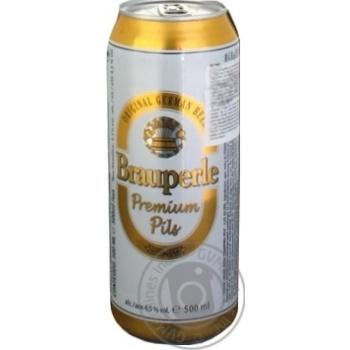 Пиво Брауперле Пілс світле фільтроване пастеризоване 4.5%об. залізна банка 500мл Німеччина - купити, ціни на Novus - фото 5