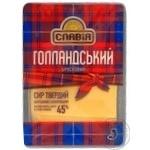 Сыр Славия Голландский брусковый твердый нарезанный ломтиками 45% 150г