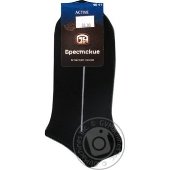 Шкарпетки Брестські Active чоловічі чорні ультракороткі розмір 25 40-41 - купити, ціни на CітіМаркет - фото 3