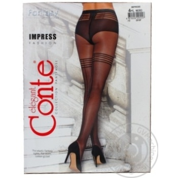 Колготки жіночі Conte Elegant Fantasy Impress 20 den розмір 4, nero - купити, ціни на Novus - фото 2