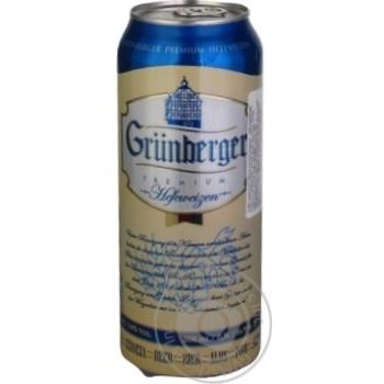 Пиво Grunberger Hefeweizen светлое ж/б 5% 0,5л