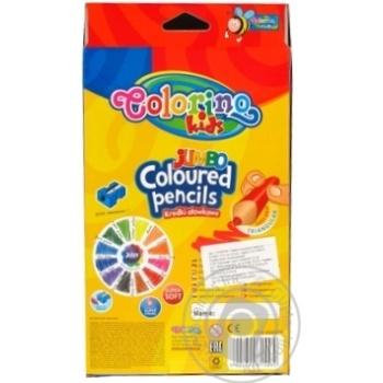 Карандаши цветные Colorino Jumbo треугольные с точилкой 12 цветов - купить, цены на МегаМаркет - фото 2