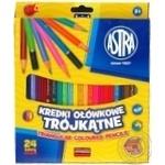 Олівці кольорові трикутні Astra 24 кольори