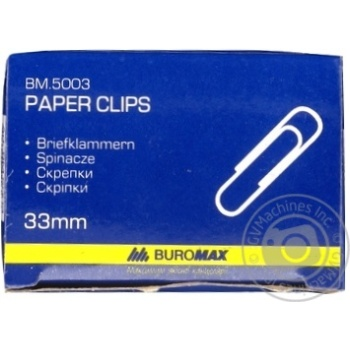 Buromax Paper Clips 33mm 100pcs - buy, prices for Metro - image 1