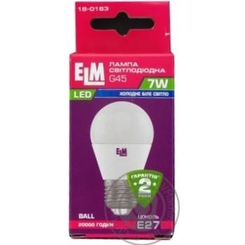 Лампа ELM Led сфера  7W PA10 E27 4000 D45 18-0163