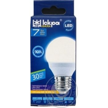Лампа LED Lamp Іскра G45 220В 7Вт 4000K E27