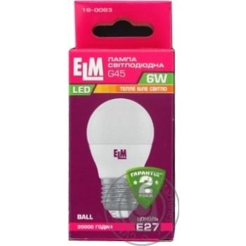 Лампочка ELM LED 6W 470lm 3000K E27 G45 PA10