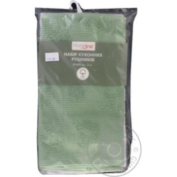 Набор полотенец Homeline кухонных махровых 2шт кремово-фисташковый 40Х60см