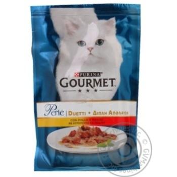 Корм Gourmen Perle Duo для кошек с курицей и говядиной 85г