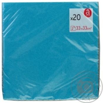 Салфетки Actuel бумажные двухслойные синие 20шт 33x33см - купить, цены на Ашан - фото 1