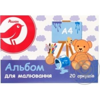 Альбом Auchan для рисования А4 20л - купить, цены на Ашан - фото 1