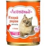 Корм Леопольд М'ясний раціон вологий з ягням для котів 360г