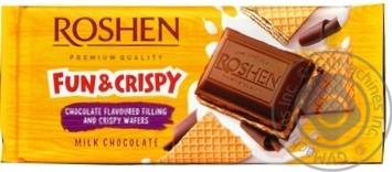 Шоколад Roshen молочный с шоколадной начинкой и вафлей 105г