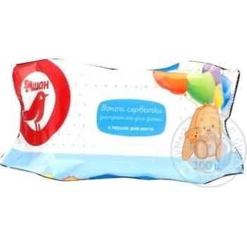 Влажные салфетки Ашан ультрамягкие для детей с первых дней жизни 100шт - купить, цены на Ашан - фото 2