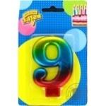 Свеча для торта Веселая затея цифра 9 8см