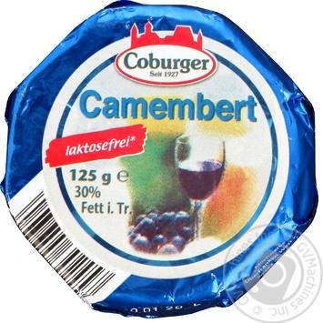Сыр Coburger Camembert 30% безлактозный с белой плесенью 125г