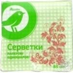 Салфетки Ашан бумажные однослойные зеленые 85шт
