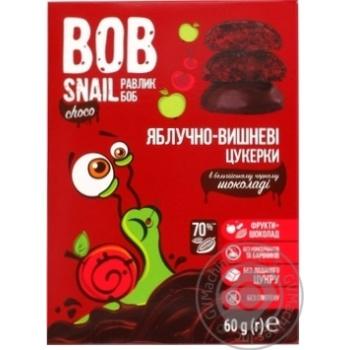 Цукерки Bob Snail яблучно-вишневі в чорному шоколаді без цукру 60г - купити, ціни на МегаМаркет - фото 1