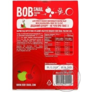 Мармелад Bob Snail яблуко-вишня без цукру 54г - купити, ціни на МегаМаркет - фото 2
