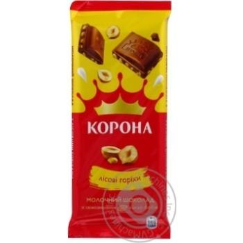 Шоколад Корона молочный с лесными орехами 90г