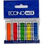 Закладки EconoMix пластиковые самоклеющиеся 5 цветов по 25шт 12х45мм