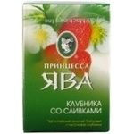 Green pekoe tea Princess Java Strawberry and cream with strawberry pieces 90g Ukraine