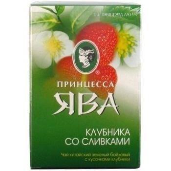 Зеленый чай Принцесса Ява Клубника со сливками китайский байховый с кусочками клубники 90г Украина