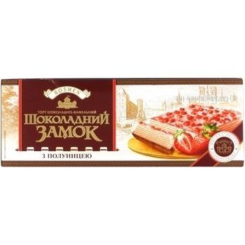 Торт вафельний Roshen Шоколадний замок з полуницею 220г