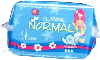 Прокладки гігієнічні ультра комфортні, шовкові та сухі Normal Clinic  10штук - 3 краплі, 240 мм.