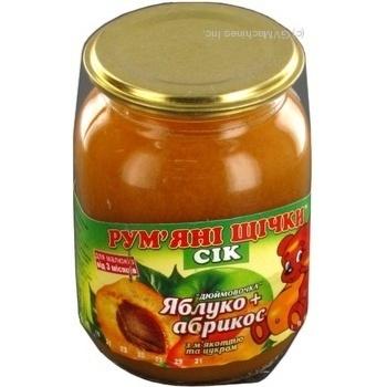 Сок Румяные щечки яблоко-абрикос для детей 250г стеклянная банка Украина