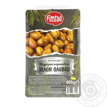 Оливки Fimtad зеленые надрезанные маринованные 400г - купить, цены на Метро - фото 1