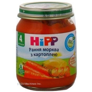 Пюре Хипп Ранняя морковь с картофелем для детей с 4 месяцев стеклянная банка 125г Германия