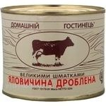 Meat Domashny gostynets beef pieces 525g can Ukraine