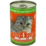 Консерва Клуб 4 лапы консервированная для котов 415г железная банка Франция