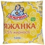 Fermented baked milk Dobriana 2.5% 450g sachet Ukraine