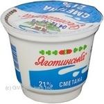 Сметана Яготинская 21% 230г пластиковый стакан Украина