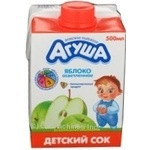 Reconstituted clarified sterilized juice Agusha apple for 3+ years children tetra pak 500ml Russia