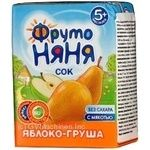 Homogenized reconstituted sugar-free juice with pulp Fruto Nyanya apple and pear for children from 5+ months tetra pak 200ml Russia