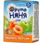 Homogenized unclarified reconstituted sugar-free juice with pulp Fruto Nyanya apple and peach for children from 5+ months tetra pak 200ml Russia