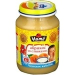 Puree Hame apricot with cream for 6+ months babies glass jar 190g