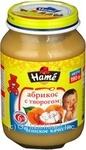 Пюре Хаме яблоко и абрикос с творогом для детей с 6 месяцев 190г
