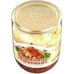 Meat Galytsky smak beef canned stewed meat 500g glass jar Ukraine