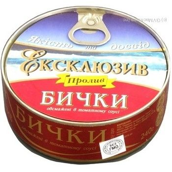 Бычки Пролив Эксклюзив обжаренные в томатном соусе 240г железная банка Украина