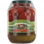 Vegetables cucumber Family canned 1660g glass jar Ukraine