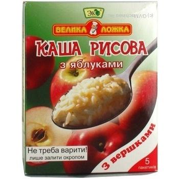 Каша Еко Велика ложка рисова з яблуками та вершками 51г х 5шт Україна