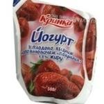 Yogurt Krynka strawberries with cream 1.5% 450g sachet Ukraine